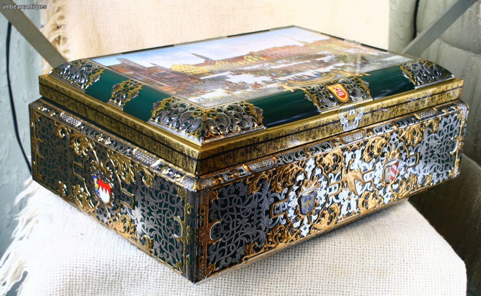 nurnberg germany lebkuchen schmidt large collectible cookie tin chest box 42cm ebay. Black Bedroom Furniture Sets. Home Design Ideas