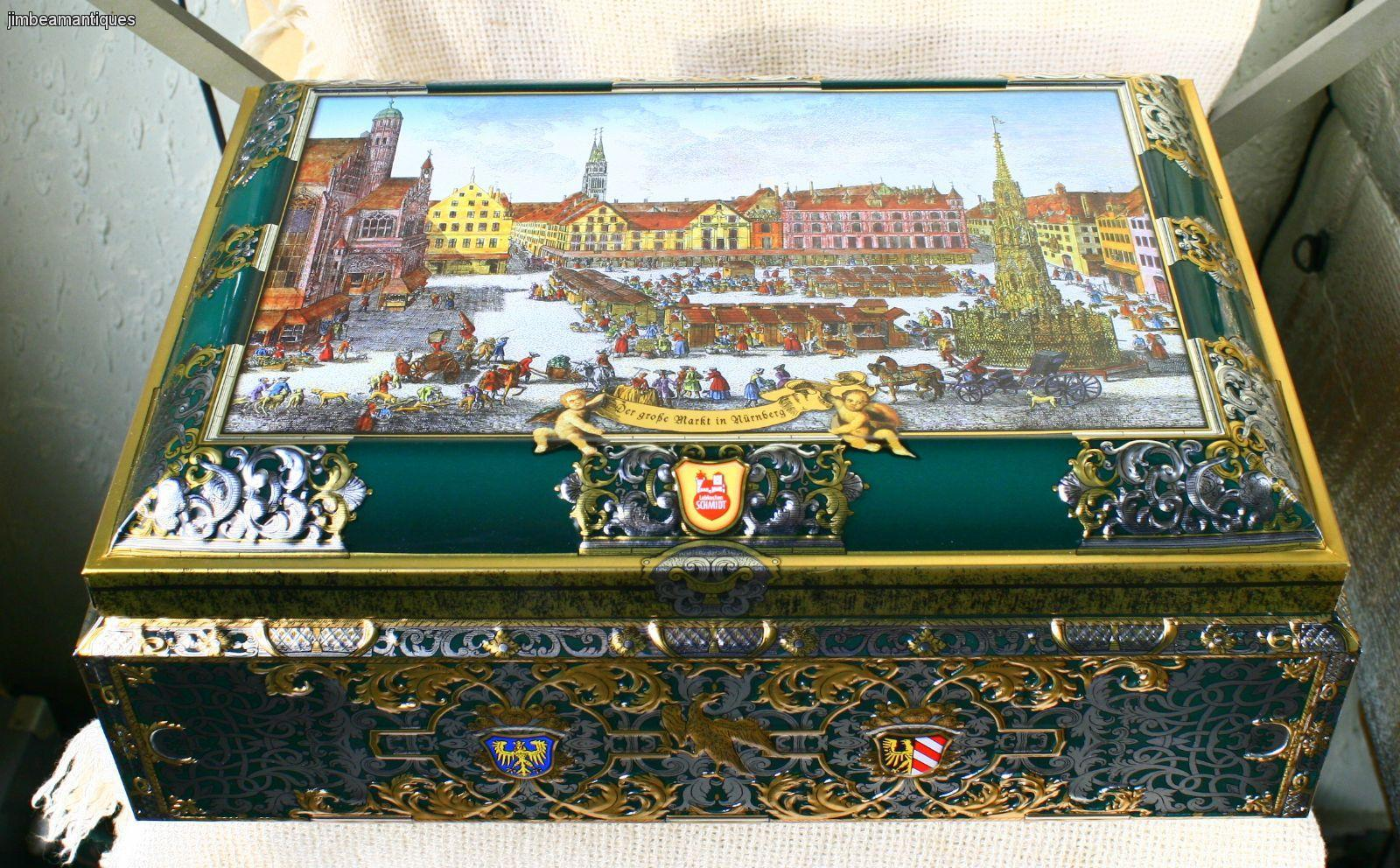 nurnberg germany lebkuchen schmidt large collectible cookie tin chest box 17 39 39 ebay. Black Bedroom Furniture Sets. Home Design Ideas