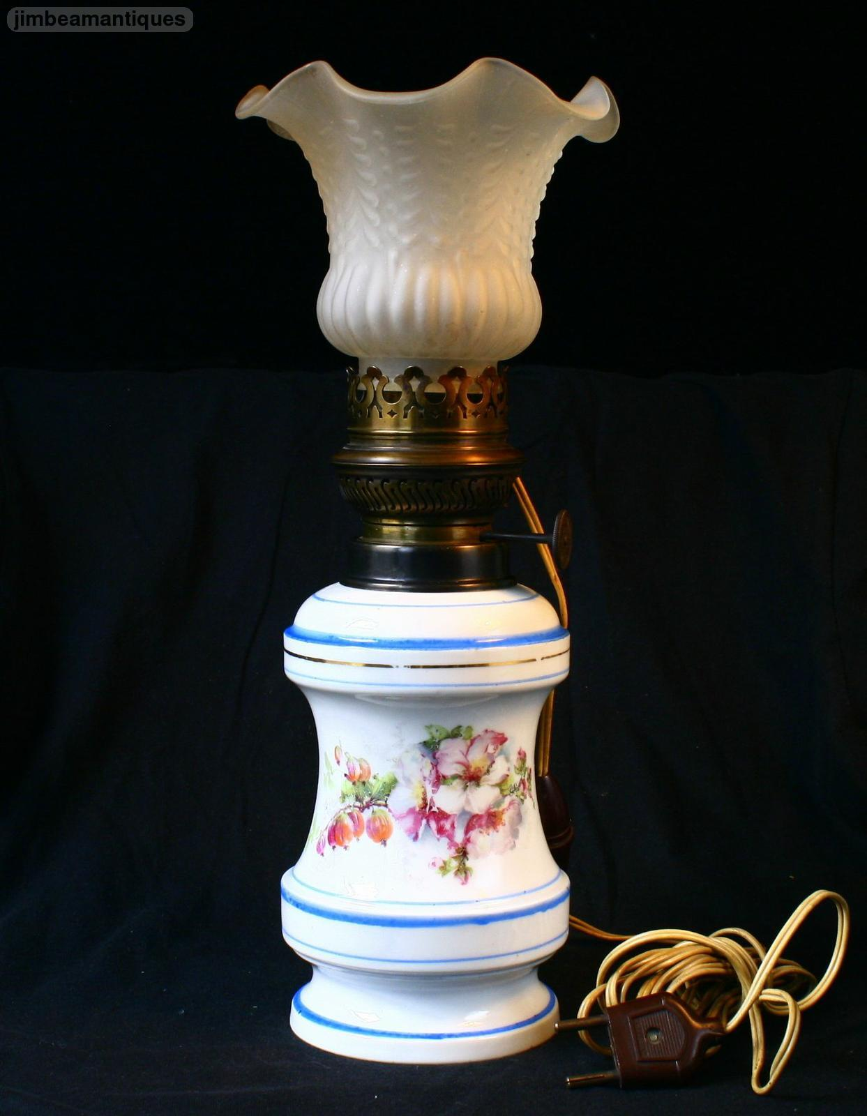 Antique augusta porcelain oil electric table lamp with for Table lamp electrical kits