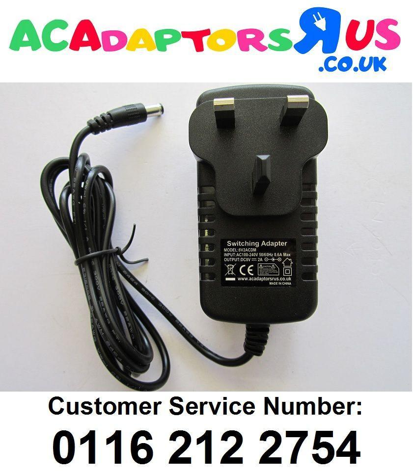 8V Mains AC-DC Adaptor Power Supply with Positive Centre Polarity ...