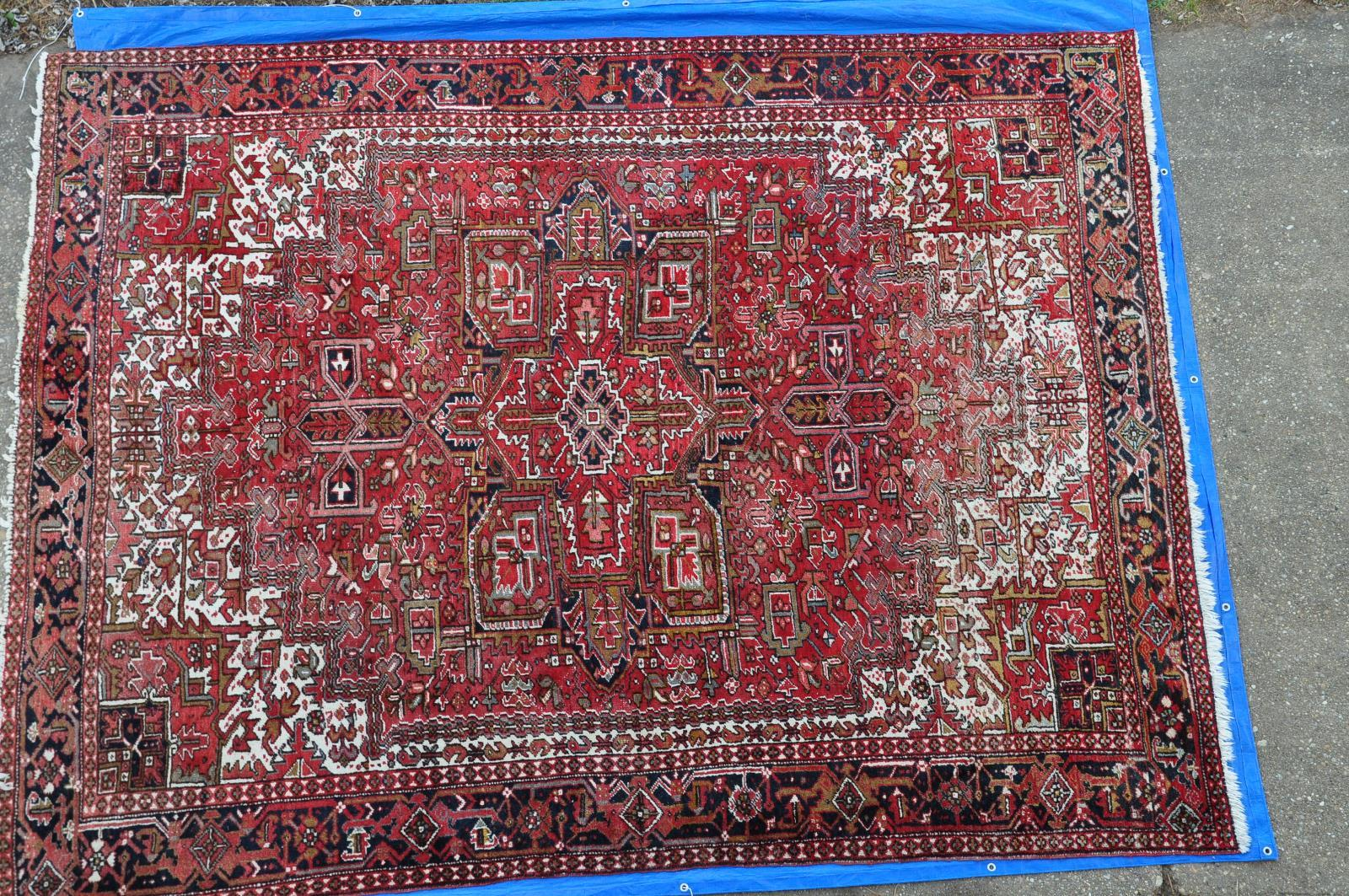 Semi Antique Persian Heriz Rug 9x12 Auctions Buy And