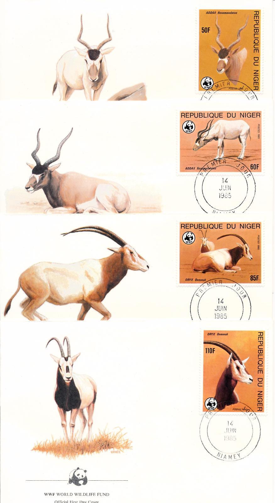 54185] Niger 1985 Wild animals Mammals WWF Antelopes Oryx FDC 4 covers |  eBay