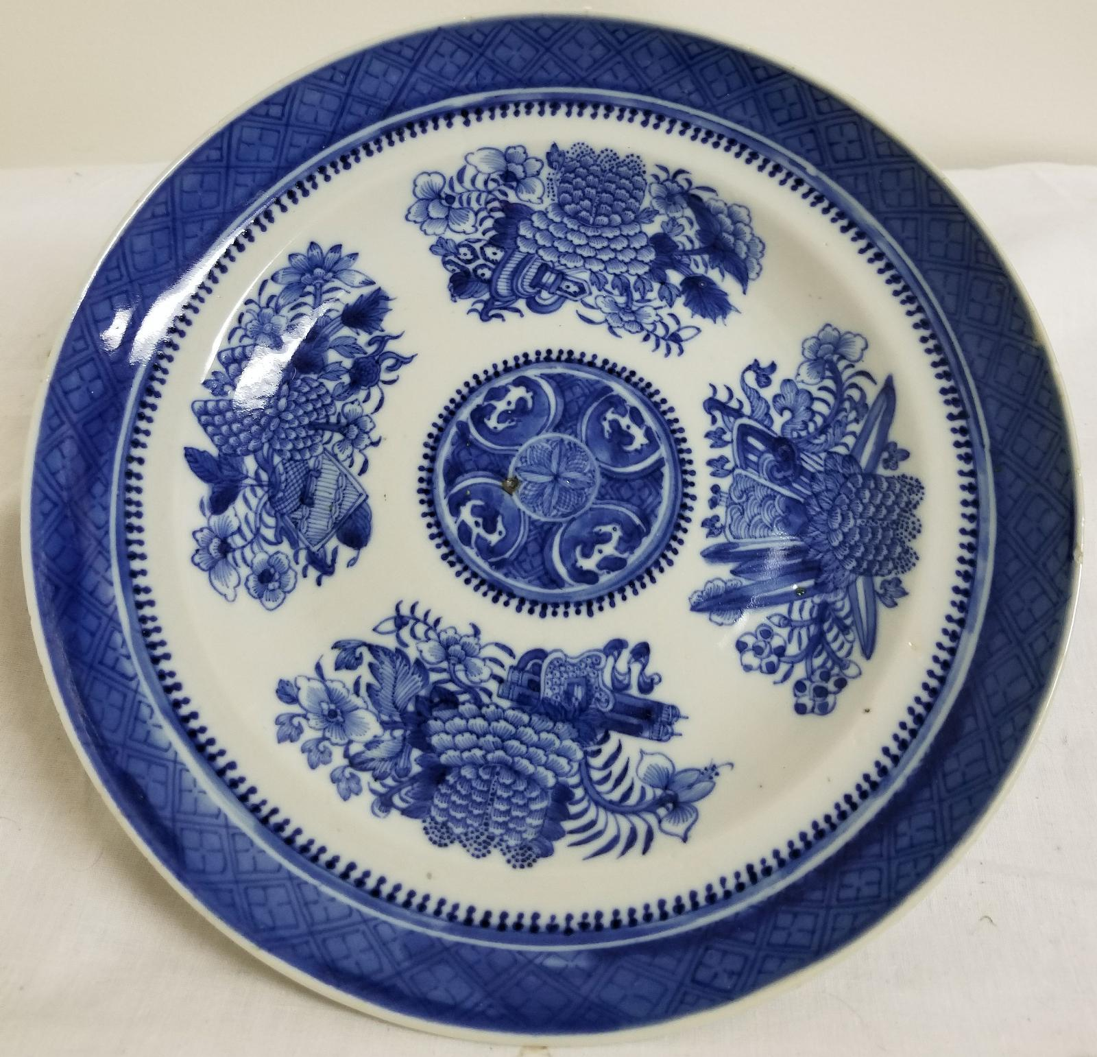 Antique CHinese Export Underglaze Blue and White Canton Nanking