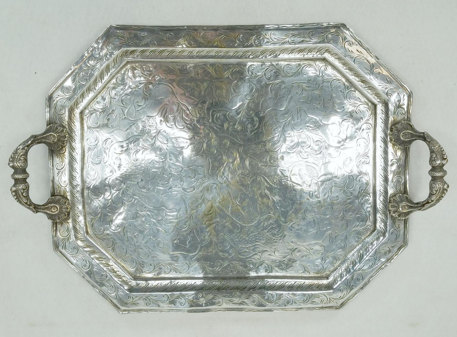 Antique Indian Colonial Silver Plate Tray With Engraved Animal Scenes Ebay