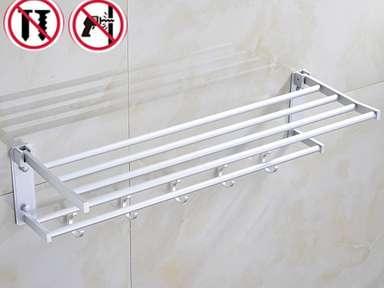 Rack Bar Towel Wall Mounted Hanging Movable Holder Bathroom Aluminum Hook Shelf